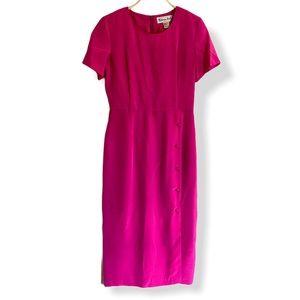 Victoria Holley Vintage Silk Dress Hot Pink